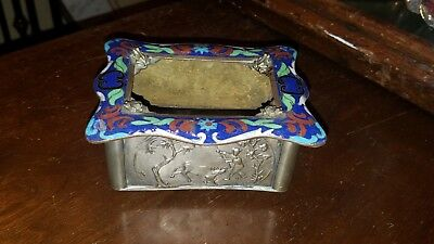 Rare Antique Estate Chinese Silver & Enamel Box w/ Frogs