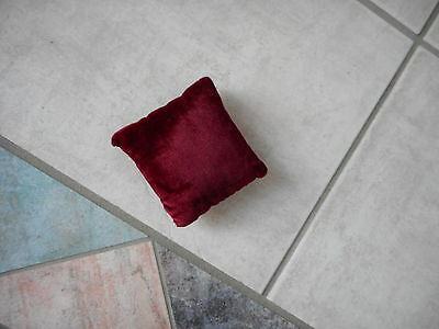 Estate Piece Vintage hand made Red Velvet Pin Needle Cushion Square Sewing Tool