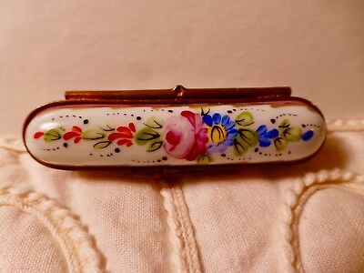 Limoges-Hinged Trinket-porcelain -Needles  Box -Keepsake- -Scissors Fasten Lock