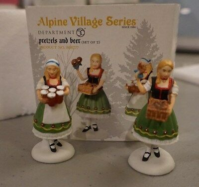 "DEPT 56 ALPINE VILLAGE "" PRETZELS AND BEER "" #808777 RARE free ship"