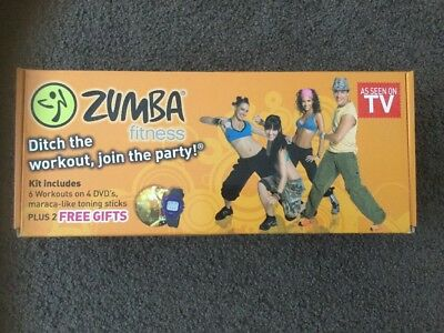Zumba Fitness Workout Kit 4 DVDs 2 Toning Sticks INCLUDES BONUS Watch