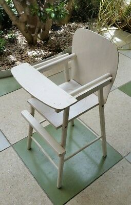 Vintage retro baby doll high chair white wooden shabby chic midcentury