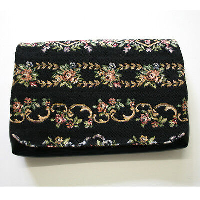 Vintage Black Floral Woven Clutch Purse Prestige Handbags NSW 1950s 1960s