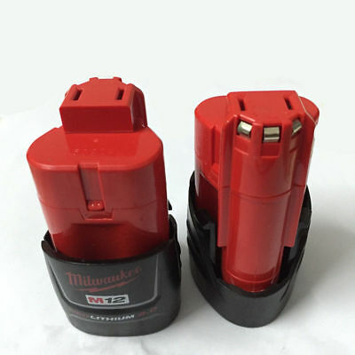 NEW 2x Brand Milwaukee M12 Red batteries 12V 2.0Ah Compact Li-ion Battery Pack A