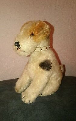 Steiff Hund Foxy Foxterrier sitzend, US-Zone 17 cm Sitting fox terrier dog