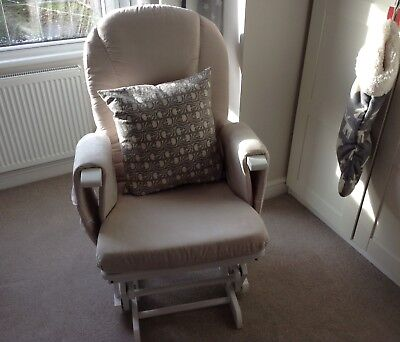 Mothercare Reclining Glider White nursing rocking chair With Beige Upholstery
