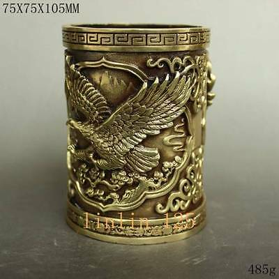 Chinese fine hand-carved brass exquisite Grand plans eagle Brush pots