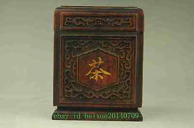 Old Chinese Blackwood Bamboo Travel Portable Tea Caddy Box Storage Canister