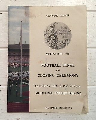 Melbourne 1956 Olympics Football Final & Closing Ceremony Programme MCG