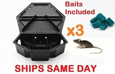 3x HEAVYDUTY RAT MOUSE RODENTS BAIT STATION Lockable Tamper & Weather Proof Trap