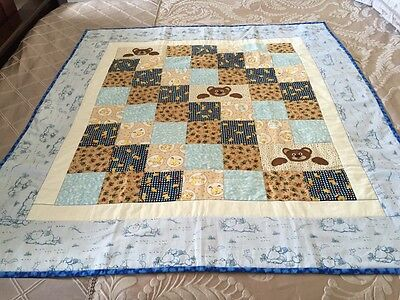 """handmade quilt - Double Sided 'Winnie Pooh And Friends With Appliqué 42"""" X 47"""""""