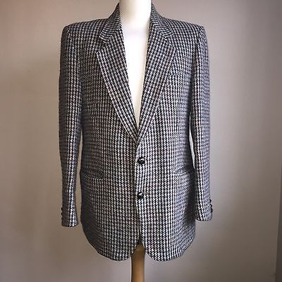 """Harris Tweed Blazer 42"""" Chest Dog Tooth Weave Size Large"""