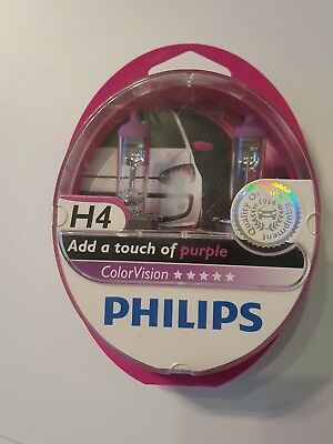 Philips H4 ColorVision Purple Pink +60% Set 2x H4 12V 60/55W 12342CVPPS2
