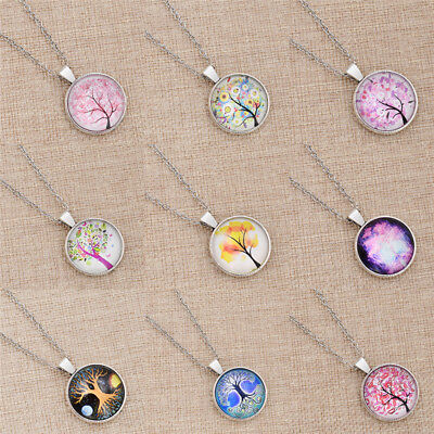 Cute Tree of Life Glass Cabochon Necklace Round Lovely Dome Pendant Jewelry Gift