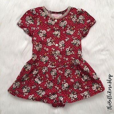 Vintage Toddler Girls Floral Red shorts Romper Fall Trendy 18m 2T