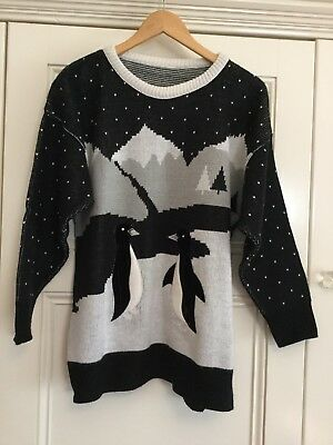Vintage 1980s? Jumper Pullover Penguins - No Tags - Size M?  Ugly Sweater