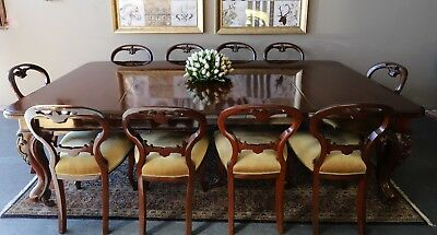 Opulent Antique Extension Dining Table & 10 Divine Dining Dinning Chairs Suite