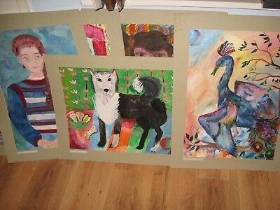Soviet Russian Art 15 paintings by Russian Children Folklore 1990 Exchibition