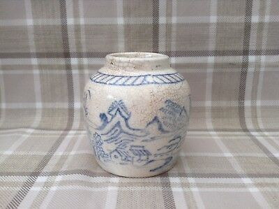Antique Chinese Blue And White Stoneware Ginger Jar