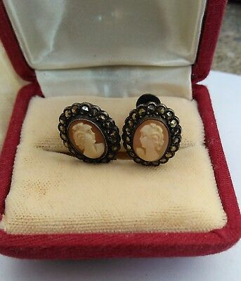 Fine Pair Of Antique Victorian Solid Silver Marcasite Cameo Earrings C1900