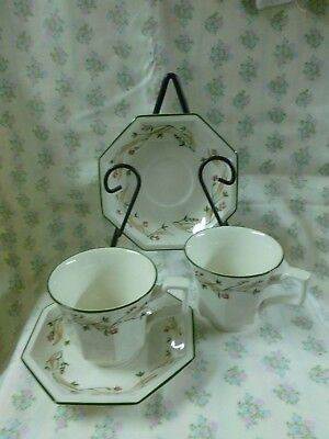 "Johnson Brothers ""Eternal Beau"" Duo Footed Cup & Saucer Set x 2 Made in England"