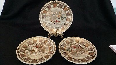 Collection of 3 Satsuma Chinese plates