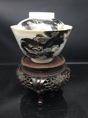 Antique Chinese Families Rose TeaBowl With Lid 19th Century