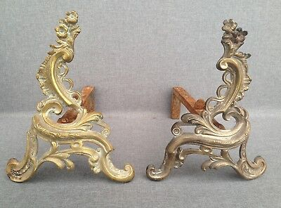 Antique pair of ormolu chenets France 19th century fireplace Louis XV style