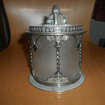 antique plated silver plate(worn ) and glass preserve jar