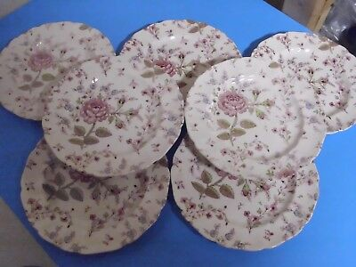 Lot Of 7 Johnson Bros Rose Chintz Salad Or Lunch Plates 7 7/8 Inches