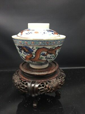 Antique Chinese Families Rose DouCai TeaBowl With Lid 19th Century晚清斗彩龙纹盖碗