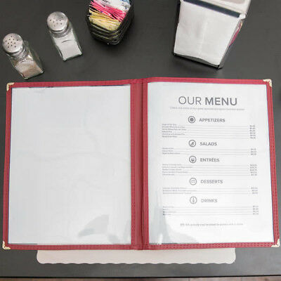 """(10-Pack) NEW 8 1/2"""" x 11"""" Burgundy Two Pocket Clear Menu Covers"""