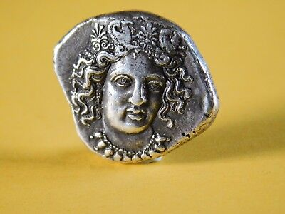 ANCIENT SILVER GREEK COIN STATER PANDOSIA BRUTTIUM HEAD of HERA LAKINIA