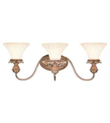 Bathroom Vanity 3 Light With Vintage Carved Scavo Glass Venetian Patina 29 inch