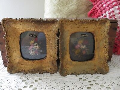 Antique Vintage ITALIAN Gold tole Ornate Framed FLORAL WALL PLAQUES hand painted