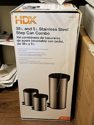 HDX 5 Liter 1.32 Gallon Round Shape Stainless Steel Step-On Trash Can Set Of Two