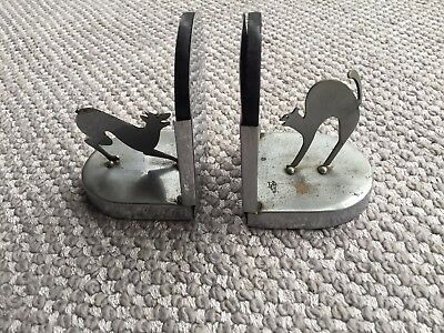 1930s Art Deco small pair of bookends in black glass and chrome.