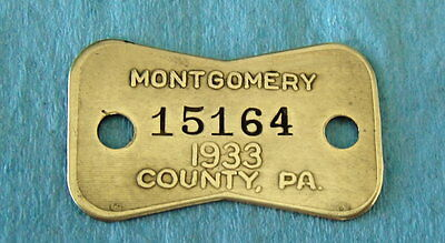 Vintage 1933 DOG LICENSE Brass Tag: MONTGOMERY COUNTY PA; Philadelphia Area