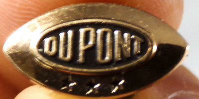 VINTAGE DUPONT THREE YEARS SERVICE SOLID 14K YELLOW GOLD ENAMEL PIN, 1.9 Grams