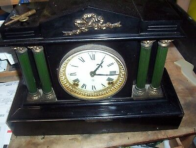 1880's Ansonia Shelf Mantle Clock Cast Iron and Enameled with Key and Pendulum