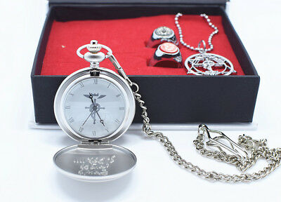 Anime Fullmetal Alchemist Edward Cosplay Pocket Watch Necklace Ring Metal Set