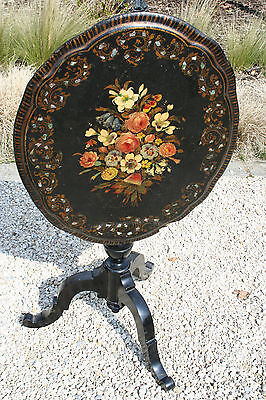 Antique French Napoleon III Painted Tilt-Top Table paper mache floral victorian