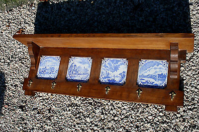 Gorgeous Wall coat rack wood Boch freres marked delft design pottery tiles