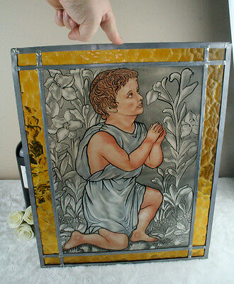 VTG Belgian Stained paint glass window signed 1970's little jesus religious