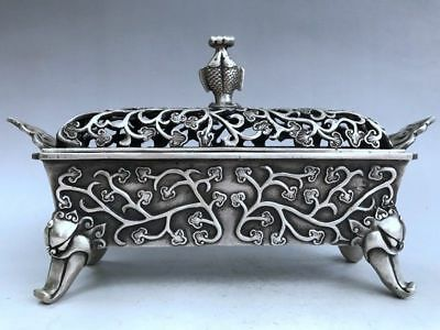 Rare Tibet silver pure incense burner manual sculpture fish and flowers design