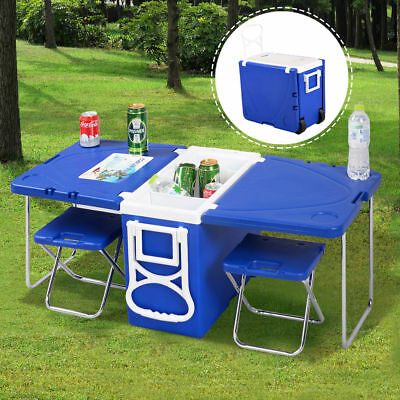 Multi Function Rolling Cooler Picnic Camping Outdoor w/ Table & 2 Chairs Blue