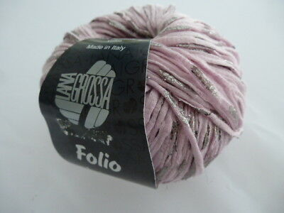 8,90€/100g Lana Grossa Folio Farbe 003 rosa silber  50g Wolle