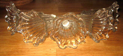 5 x unusual glass 'flowers' from old chandelier hand blown vintage art deco