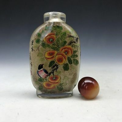 Ancient Chinese glass snuff bottle pure manual painting of flowers and birds