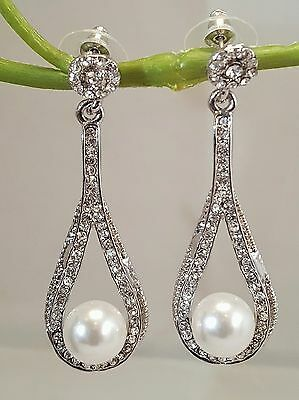 Brilliant Bridal Faux Pearl Rhinestone Silver Plated Earrings Peirced